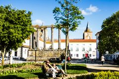 General view of the ruins of a Roman temple of the 1st century in Évora, Portugal Stock Photos