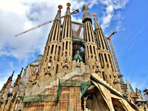 General view on Sagrada Familia Basilica in Barcelona. General view on builded Templo Expiatorio de la Sagrada Familia. Basilica and Expiatory Church of the stock photography