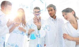 General-view seen trough a transparent board in a chemistry lab stock image