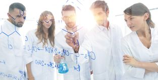 General-view seen trough a transparent board in a chemistry lab royalty free stock image