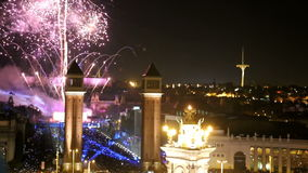 General view of the square in Barcelona during the celebration of the New Year stock video