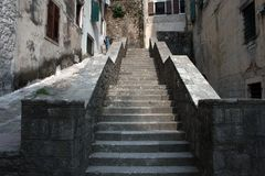 A general view of a stair. In the city center of Kotor Montenegro Stock Images
