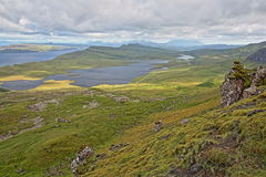 General view from The Storr with Loch Leathan and Loch Fada, Isle of Skye, Highlands, Scotland, UK Royalty Free Stock Image