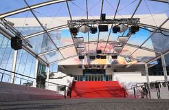 A general view of street Palais de festival. CANNES, FRANCE - MAY 8: A general view of street Palais de festival during the 71th Annual Cannes Film Festival on Royalty Free Stock Image