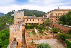General  view to  Nazaries palaces at Alhambra. In day time.  Granada,  Spain Royalty Free Stock Photos