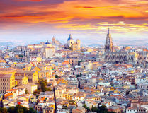 General view of Toledo from hill in dawn Stock Photo