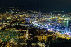 General view from the top point on night Nice Royalty Free Stock Photography