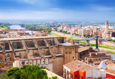 General view of Tortosa with Cathedral from Suda castle Stock Photography