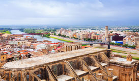 General view of Tortosa with Ebro from  castle Royalty Free Stock Photos