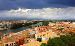 General view of Tortosa with Ebro river from  castle Stock Photos