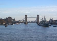 Tower bridge, london. General view of tower bridge in london. hms belfast, cruiser in front royalty free stock photography