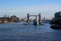 Tower bridge, london. General view of tower bridge in london. hms belfast, cruiser in front stock image