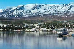 General view of the town of Akureyri, Northern Iceland Stock Photo