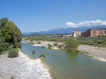 General view of the town of Aulla, Lunigiana, and the Magra river. Royalty Free Stock Images