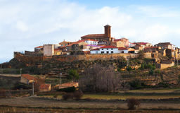 General view of town in Spain. General view of town in province of Teruel. Pozuel del Campo, Spain stock photos