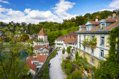 General view of townhouses along the river Aare Stock Photo