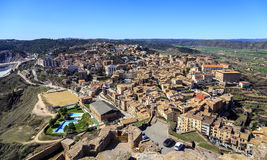 General view of typical Catalan town. Cardona Royalty Free Stock Image