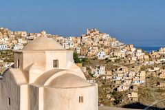 General view of the village of olympos and in the foreground of the Evaggelismos church. Olympos, on the island of Karapathos is undoubtedly the most beautiful Royalty Free Stock Image