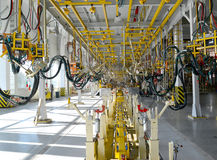 General view of welding shop of automobile plant Stock Image