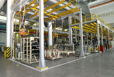 General view of welding shop of automobile plant. Nobody Stock Photos