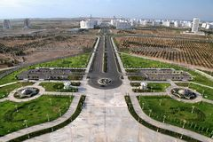 General Views to the new park and district. Turkmenis Stock Photo