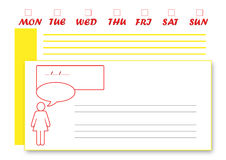 General Week's Planner English. It's an A4 horizontal general planner Royalty Free Stock Images