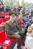 Generale russo sulla celebrazione alla parata sulla vittoria annuale D Immagini Stock Libere da Diritti