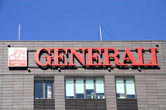 Generali. Logo sign on blue sky background Stock Photo