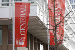 Generali. Flags infront of a Generali insurance office in munich Royalty Free Stock Photo