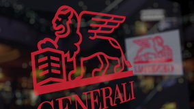 Generali Group logo on the glass against blurred business center. Editorial 3D rendering Stock Image