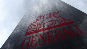 Generali grupperar logo på reflekterande moln för en skyskrapafasad Redaktörs- tolkning 3D Arkivbild