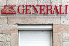 Generali logo on a wall. Firminy, France - August 17, 2016: Generali logo on a wall. Generali is the largest insurance company in Italy and third in the world Royalty Free Stock Photography