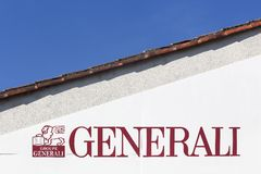 Generali logo on a wall. Saint Maixent, France - October 28, 2016: Generali logo on a wall. Generali is the largest insurance company in Italy and third in the Stock Photography