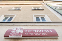 Generali. Sign on a german office of the Generali insurance with copy space above it Royalty Free Stock Photos