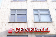 Generali. Sign of the Generali insurance on a building with lots of copy space above it Stock Images