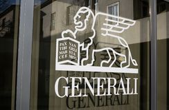 Generali symbol. GENERALI, OPAVA, CZECH REPUBLIC / CZECHIA - symbol of insurance company on the window Royalty Free Stock Photos