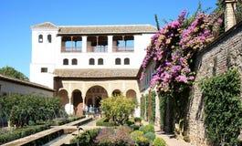 Generalife и фонтаны, Гранада, Испания Стоковые Фотографии RF