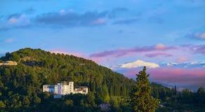 Generalife of Alahambra sunset in Granada stock image
