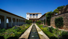 Generalife - Court of the Water Channel in Granada, Spain Stock Photos
