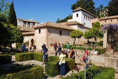 Generalife gardens and building, Alhambra Palace. Royalty Free Stock Photography