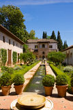 Generalife palace cortyard, Granada, Spain Royalty Free Stock Photo