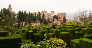 Generalife topiary inside the Alhambra palace. Gardens of the Generalife inside the Alhambra palace of Granada, Spain Stock Photo