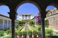 Generalife trädgårdar i Alhambra, Granada, Spanien Royaltyfria Bilder