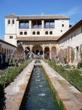 Generalife water fountain at Alhambra Palace Royalty Free Stock Images
