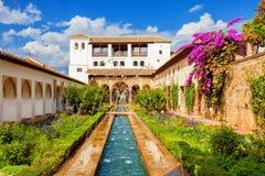 Generalifen av Alhambra de Granada, Spanien Royaltyfria Bilder