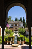 Generalige Garden in Alhambra. Generalife garden, a part of the Alhambra in Granada (Spain royalty free stock photo