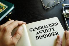 Generalised anxiety disorder GAD. Book about Generalised anxiety disorder GAD royalty free stock photos