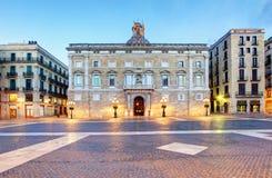 Generalitat do palácio de Catalonia em Barcelona, quadrado de Sant Jaume imagens de stock royalty free