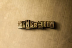 GENERALLY - close-up of grungy vintage typeset word on metal backdrop. Royalty free stock illustration.  Can be used for online banner ads and direct mail Royalty Free Stock Photo