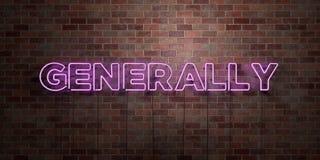 GENERALMENTE - muestra fluorescente del tubo de neón en el ladrillo - vista delantera - 3D rindió la imagen común libre de los de stock de ilustración